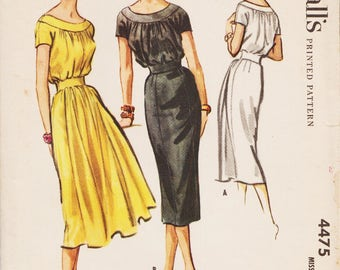 McCalls 4475 / Vintage 50s Sewing Pattern / Dress / Size 10 Bust 31