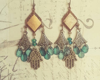 Bohemian Gypsy Chandelier Filigree Hamsa Good Luck Fatima Hand Yoga Spirituality Jewelry Dangle Earrings Upcycled Recycled