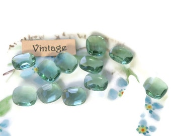 Vintage Cabochons Light Tourmaline 10x8 Glass NOS Octagon Pointed Back N868B