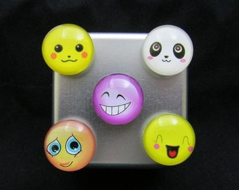 Cute Fridge Magnets, Free Shipping, refrigerator magnets, smiley face magnets, neodymium magnet set, happy face magnet set  610