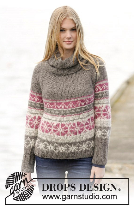 Women's Knit Fair Isle Sweater Multicolored Hand Knitted