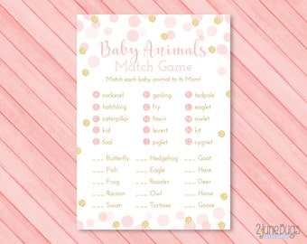 Pink and Gold Who's My Mama Game - Baby Animals Match Baby Shower Game - Girl Baby Shower - Pink Gold Glitter Confetti - PRiNTABLE