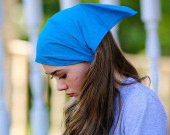 Pretied Head Cover, Turquoise Kerchief, Bandanna Headcovering, Aqua Blue Head Scarf, Bright Blue Bad Hair Day Headcovering (#3605) S M L
