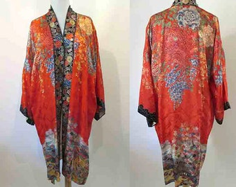Stunning Vintage Asian Robe, Cocktail Jacket Border Floral Print Pinup Girl Rockabilly Size Large/Xlarge