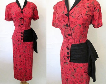 ON HOLD Chic 1940's Rayon Novelty Print dress with peplum/Side swag matching belt Old Hollywood  Rockabilly Size XL