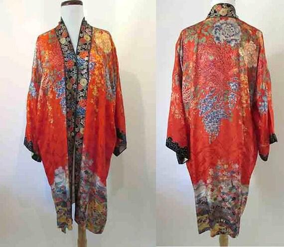Stunning Vintage Asian Robe, Cocktail Jacket Border Floral Print Pinup Girl Rockabilly Size Large/Xlarge
