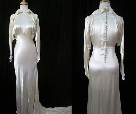 ON HOLD Stunning 1930's Bias Cut White Silk Satin Wedding Gown with a Dramatic Train  Old Hollywood Glamor Jean Harlow Style Size Small