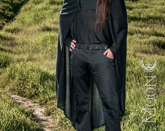 NEW: Men's Convertible Cape with Hood in Black by Opal Moon Designs (One Size Fits All)