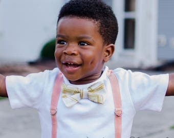 Blush Bowtie and Suspenders. Gold Bowtie. Blush Suspenders. Peach Suspenders. Wedding outfit for boys. Ring bearer. Toddler boy.