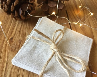 Natural Linen Coasters- Set of 4