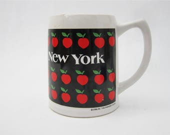 Vintage New York Big Apple Oversized Beer Stein Oversized Coffee Mug // 1986 The Paradies Shop
