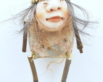 Folk Art Doll Ornament holiday christmas coth clay miniature doll #57
