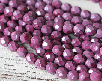 25 - 6mm Honeycomb Firepolished Beads -  Czech Glass Beads - Jewelry Making Supplies - Raspberry Pink Honeycomb