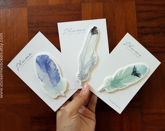 FEATHER sticky notes, Feather post its, Bird sticky notes, Parrot sticky notes, Feathers