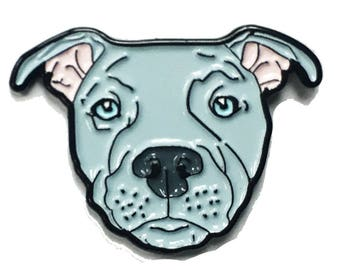 Blue Pitbull American Bully Pit Bull Terrier Breed Dog Lover Enamel Pin