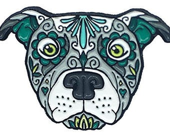 Pitbull Pitty Sugar Skull Tattoo Breed Dog Lover Enamel Lapel Pin