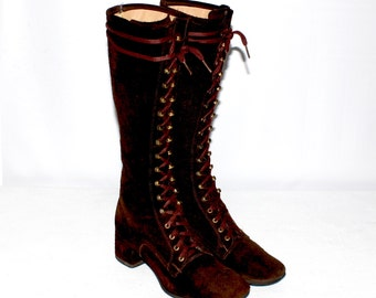 Vintage GO-GO Boots Chocolate Brown Suede Leather Lace Up GoGo Boots 8M