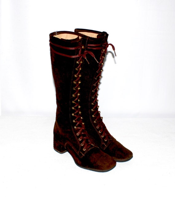 vintage go go boots chocolate brown suede leather lace up gogo
