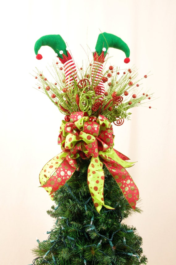Christmas Tree Topper Elf Tree Topper Holiday Decor Tree