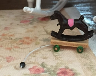 Miniature Pull Toy, Rocking Horse, Dollhouse Miniature, 1:12 Scale, Dollhouse Accessory, Decor, Mini Rocking Horse, Mini Toy, Crafts, Topper