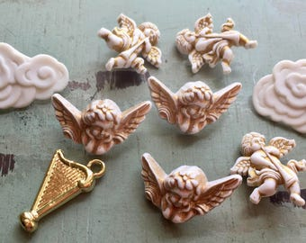 """Angel Themed Buttons, """"Angelic"""" #4403,Packaged Novelty Buttons by Buttons Galore, Angels, Harp, Clouds, Shank Back Buttons, Embellishments"""