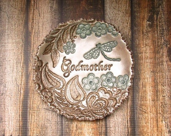 Godmother Gift Vintage Lace Flower Leaf Vine Dragonfly Jewelry Holder Ring Dish Personalized Present For Her, Antique Bronze Pearl Moss Aqua