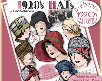 DOWNTON Abbey 1920 HAT Pattern Pdf Booklet Andover Pdf 2014-15 Ed. - Vintage 1920's Flapper Cloche Turban Brim Sew Make