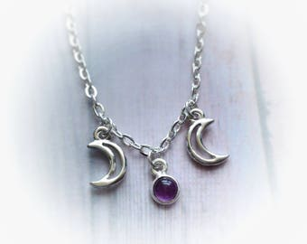 Amethyst Faerie Triple Goddess Moon necklace