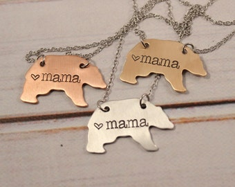 Mama Bear Necklace - your choice of bronze, copper, or aluminum - momma bear -
