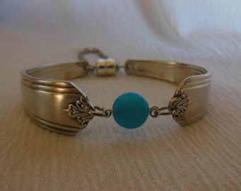Sky Blue Jade and Silver  Antique Spoon  Bracelet   7.5 inch