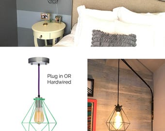 custom bedside lamp diamond cage hanging pendant lamp modern bedroom light fixture hardwired or plug in
