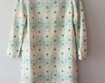 Vintage 60s Teal & SILVER Floral Shift Dress (m-l)