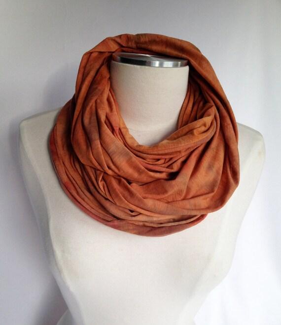Merino infinity Scarf - NATURAL Dyed, Orange