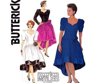 80s Morton Myles Waterfall Hem Prom Formal Dress Petticoat Pattern Butterick 4306 Vintage Sewing Pattern Size 12 14 16  Bust 34 36 38 UNCUT