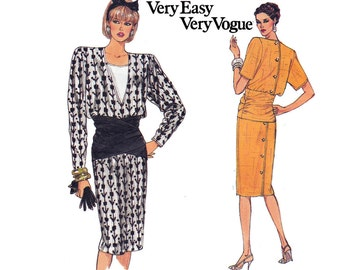 80s Ruched Midriff Back Buttoned Dress Pattern Vogue 9644 Vintage Sewing Pattern Bust 31 1/2 - 32 1/2 inches Size 8 10