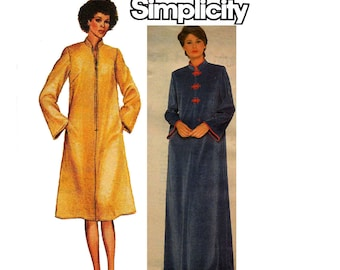 Simplicity 9782 Jiffy 80s Womens Stretch Robe Zip Front Maxi Beach Cover Up Caftan Vintage Sewing Pattern Size 14 Bust 36 inches