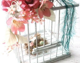 Vintage Wood Bamboo Bird Cage. Nesting Love Birds. Spring cottage chic. Shabby Nesting Birds Victorian style Decor