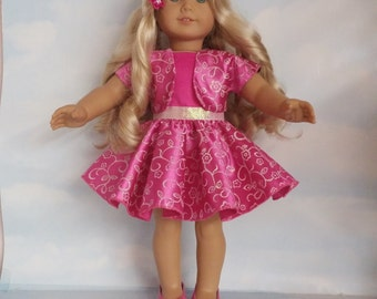 18 inch doll clothes - Fushia Glitter Dress and Jacket Handmade to fit the American Girl Doll - FREE SHIPPING
