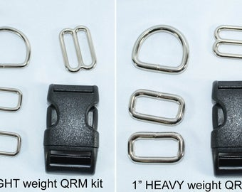 Quick Release Buckle Martingale Dog Collar Hardware Kit - D rings - Slides - Rectangle Rings - Buckle