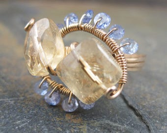 Citrine and Tanzanite 14kt Gold Wire Ring - Swirls and Curls - Size 7