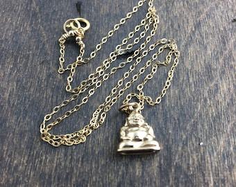Buddha Necklace, Gold Buddha Charm Necklace, Namaste, Meditation Jewelry, Yoga Jewelry, Calming