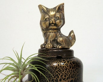 Brass Kitty Figurine Vintage Cat for Shelf or Desk