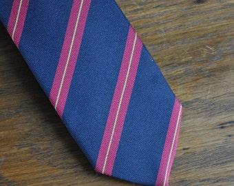 MCM Mid Century Modern skinny tie prep stripe navy red yellow