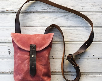 Waxed Canvas Hunter Satchel Small in Radish, Waxed Canvas Crossbody Bag, Waxed Canvas Bag, Purse, Travel Bag, Crossbody Bag, For Her, Tote