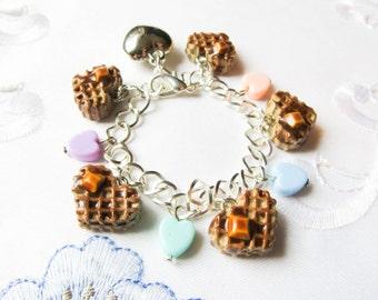 Heart Waffle Charm Bracelet, Kawaii Bracelet, Cute Bracelet, Charm Bracelet, Sweet Lolita, Food Bracelet, Heart, Waffles