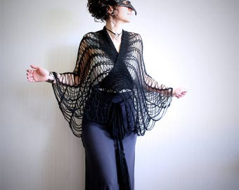 women's wrap top // black knit shawl // cobweb clothing // black knit caplet // summer shawl // swim cover up // lace top // see through top
