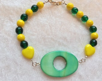 Green Bracelet, U of O Duck Bracelet, University of Oregon, Yellow Hearts, Green Bracelet, Oregon Ducks Bracelet, Free US Shipping