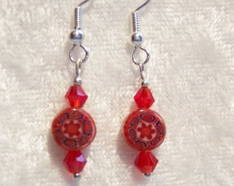 Red Earrings, Millefiori Earrings, Red Crystal Earrings, Italian Glass Earrings, Clip on Available, Delicate Earrings