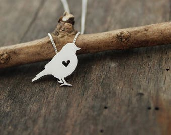 Song bird necklace, sterling silver, tiny silver hand cut pendant with heart, blue bird