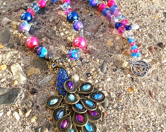 Blue n Pink Peacock Necklace